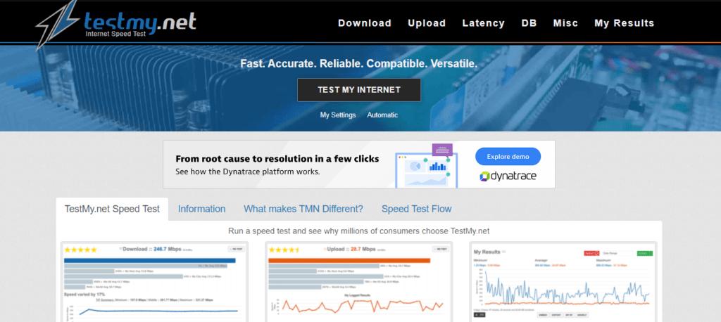 testmynet homepage